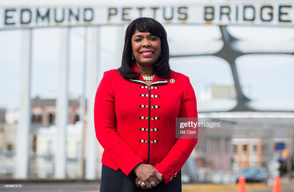 Rep Terri Sewell DAla poses on the Edmund Pettus Bridge in Selma Ala on Feb 15 2015 Rep Sewell represents Alabama's 7th Congressional district which...