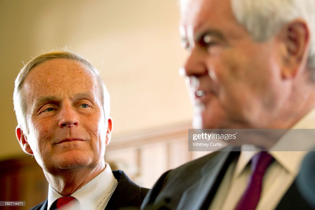 U.S. Rep. <a gi-track='captionPersonalityLinkClicked' href=/galleries/search?phrase=Todd+Akin&family=editorial&specificpeople=5397424 ng-click='$event.stopPropagation()'>Todd Akin</a> (R-MO) and former Speaker of the House <a gi-track='captionPersonalityLinkClicked' href=/galleries/search?phrase=Newt+Gingrich&family=editorial&specificpeople=202915 ng-click='$event.stopPropagation()'>Newt Gingrich</a> (R) address the press on September 24, 2012 in Kirkwood, Missouri. Gingrich was in the St. Louis area to attend a fundraiser for Akin's U.S. Senate campaign against incumbent Claire McCaskill.