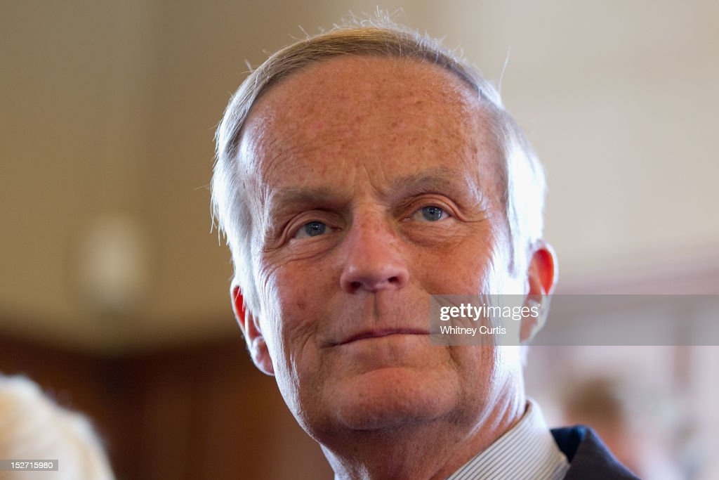 U.S. Rep. <a gi-track='captionPersonalityLinkClicked' href=/galleries/search?phrase=Todd+Akin&family=editorial&specificpeople=5397424 ng-click='$event.stopPropagation()'>Todd Akin</a> (R-MO) and Former Speaker of the House Newt Gingrich (not pictured) address the media on September 24, 2012 in Kirkwood, Missouri. Gingrich was in the St. Louis area to attend a fundraiser for Akin's U.S. Senate campaign against incumbent Claire McCaskill.