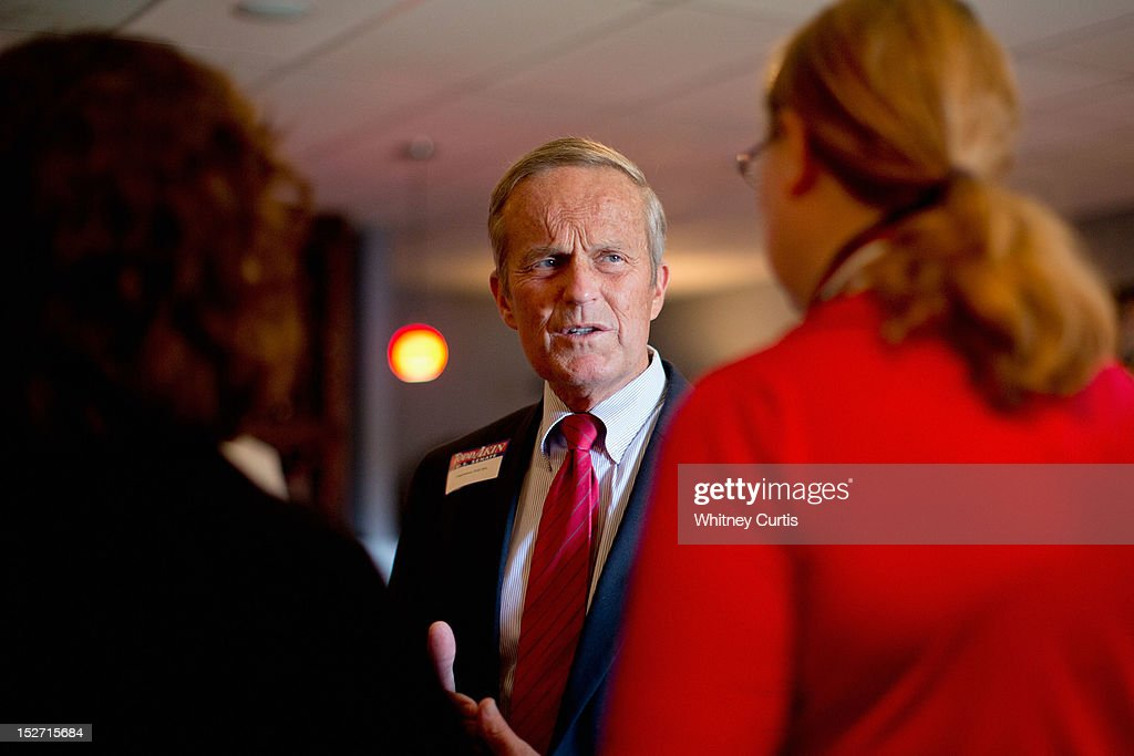U.S. Rep. <a gi-track='captionPersonalityLinkClicked' href=/galleries/search?phrase=Todd+Akin&family=editorial&specificpeople=5397424 ng-click='$event.stopPropagation()'>Todd Akin</a> (R-MO) speaks to supporters during a fundraiser, which was also attended by Former Speaker of the House Newt Gingrich, on September 24, 2012 in Kirkwood, Missouri. Gingrich was in the St. Louis area to support Akin's U.S. Senate campaign against incumbent Claire McCaskill.