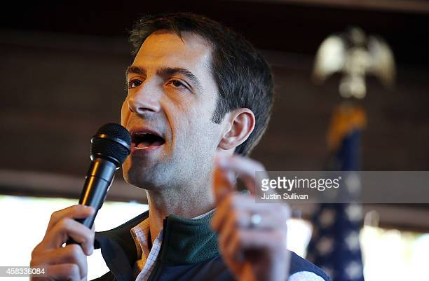 S Rep Tom Cotton and Republican candidate for US Senate in Arkansas speaks to supporters during a Republican party campaign rally on November 3 2014...
