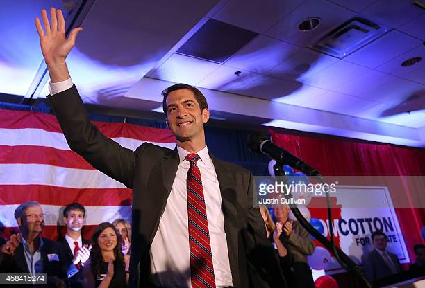 S Rep Tom Cotton and republican US Senate elect in Arkansas greets supporters during an election night gathering on November 4 2014 in Little Rock...