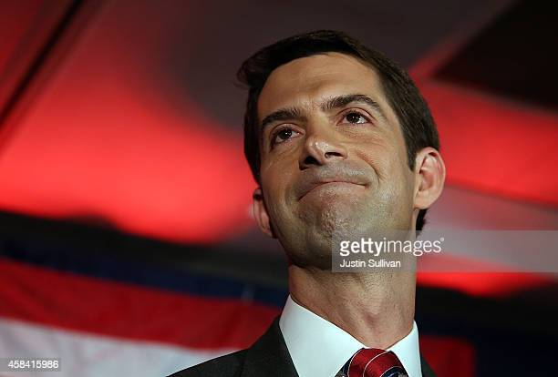 S Rep Tom Cotton and republican US Senate elect in Arkansas pauses as he chokes while speaking to supporters during an election night gathering on...