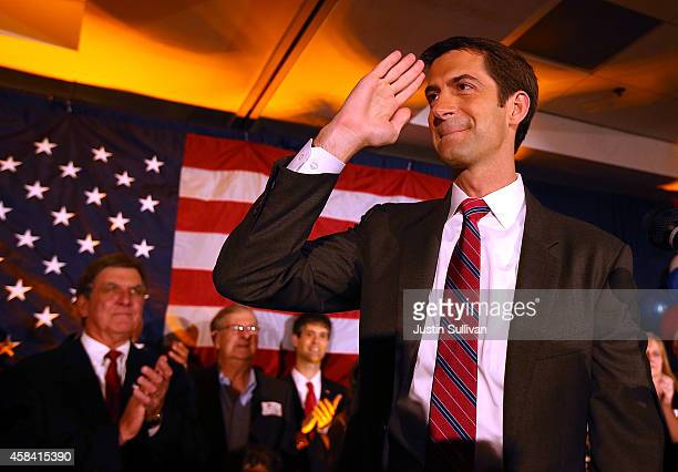 S Rep Tom Cotton and republican US Senate elect in Arkansas salutes supporters during an election night gathering on November 4 2014 in Little Rock...