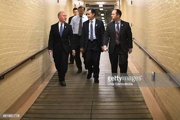 Rep Tom Price and members of the Freedom Caucus Rep Dave Brat Rep Gary Palmer and Rep Marlin Stutzman head for a House Republican caucus meeting in...