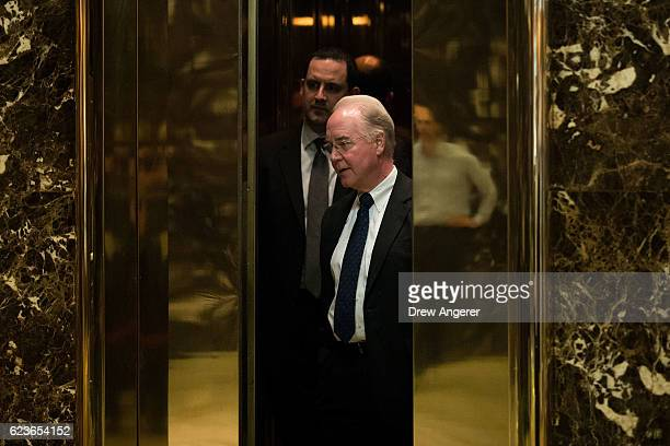 Rep Tom Price gets into an elevator at Trump Tower November 16 2016 in New York City Presidentelect Donald Trump and his transition team are in the...