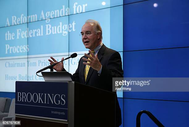 S Rep Tom Price speaks at the Brookings Institution November 30 2016 in Washington DC Presidentelect Donald Trump has picked Rep Price to become the...