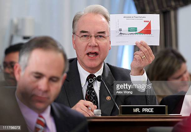 S Rep Tom Price speaks during a markup hearing before the House Budget Committee April 6 2011 on Capitol Hill in Washington DC The committee held a...