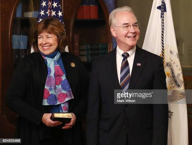Rep Tom Price stands with his wife Betty Price before being sworn in as the new Health and Human Services Secretary on February 10 2017 in Washington...