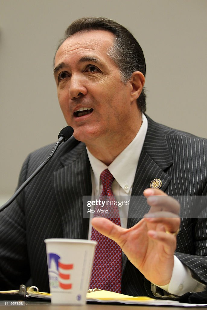 U.S. Rep. <a gi-track='captionPersonalityLinkClicked' href=/galleries/search?phrase=Trent+Franks&family=editorial&specificpeople=703239 ng-click='$event.stopPropagation()'>Trent Franks</a> (R-AZ) testifies during a hearing before the Energy and Power Subcommittee of the House Energy and Commerce Committee May 31, 2011 on Capitol Hill in Washington, DC. The hearing was to examine the protection of the nation's electric grid from physical and cybersecurity threats and vulnerabilities.