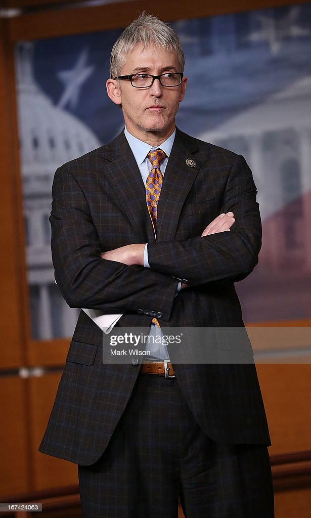 Rep. <a gi-track='captionPersonalityLinkClicked' href=/galleries/search?phrase=Trey+Gowdy&family=editorial&specificpeople=7778386 ng-click='$event.stopPropagation()'>Trey Gowdy</a> (R-SC) participates in a news conference on immigration, on Capitol Hill, April 25, 2013 in Washington, DC. The news conference was held to discuss immigration control issues that are before Congress.