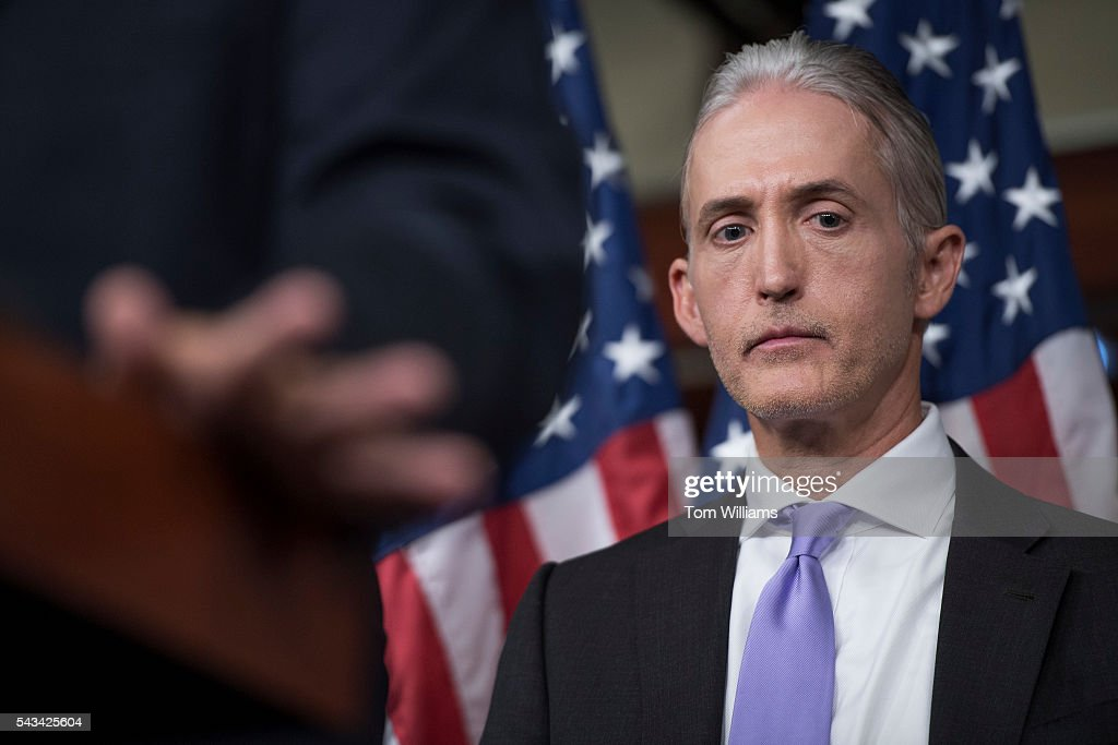 Rep. Trey Gowdy, R-S.C., chairman of the Select Committee on Benghazi, conducts a news conference in the Capitol Visitor Center, June 28, 2016, to announce the Committee's report on the 2012 attacks in Libya that killed four Americans.