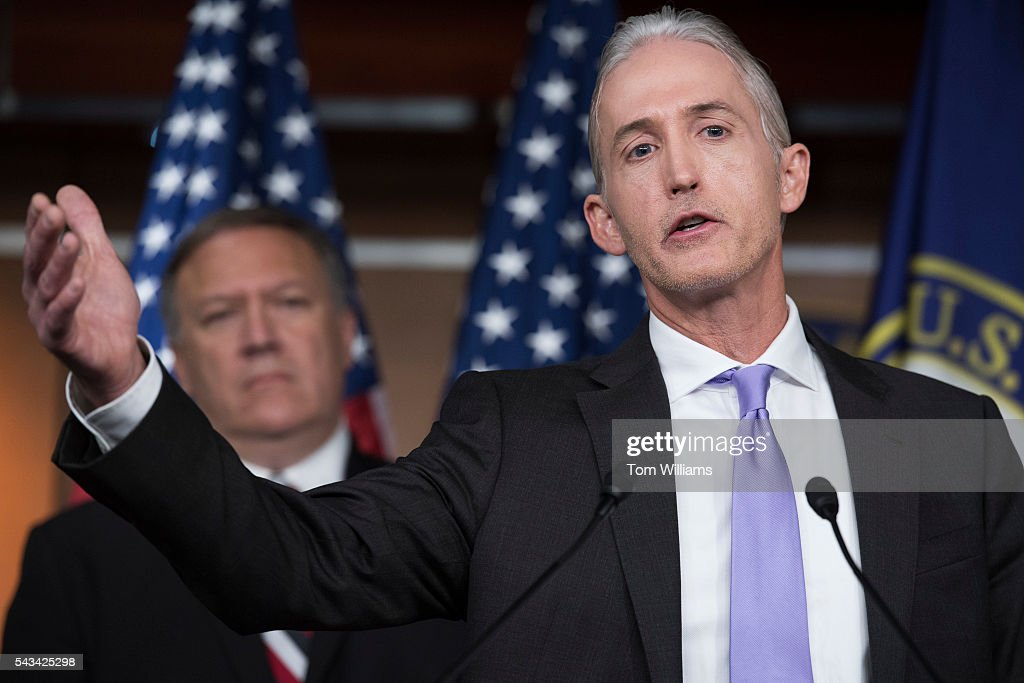 Rep. Trey Gowdy, R-S.C., right, chairman of the Select Committee on Benghazi, conducts a news conference in the Capitol Visitor Center, June 28, 2016, to announce the Committee's report on the 2012 attacks in Libya that killed four Americans. Rep. Mike Pompeo, R-Kan., also appears.