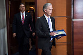 Rep Trey Gowdy RSC right chairman of the Select Committee on Benghazi arrives for a news conference in the Capitol Visitor Center June 28 to announce...