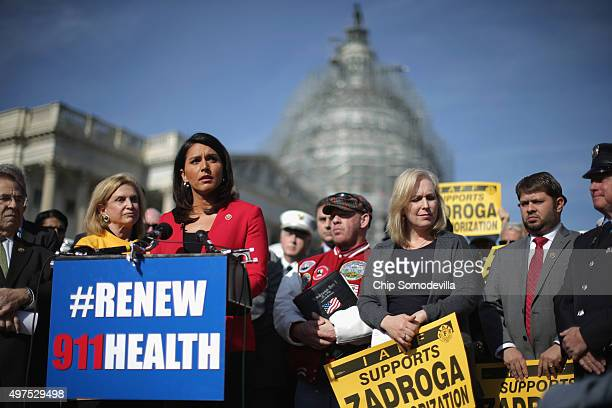 Rep Tulsi Gabbard a Military Police Major in the Army National Guard joins Rep Carolyn Maloney John Feal of the Feal Good Foundation Sen Kirsten...
