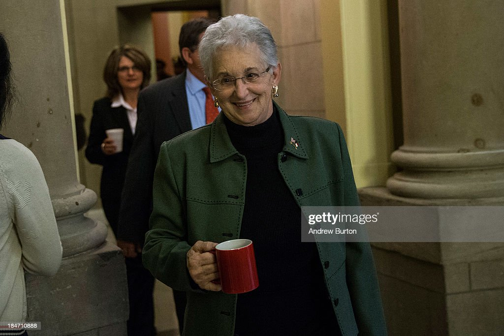 U.S. Rep. Virginia Foxx (R-NC) leaves Speaker Boehner's office at the Capitol Building on October 15, 2013 in Washington, DC. The government has been shut down for 14 days.