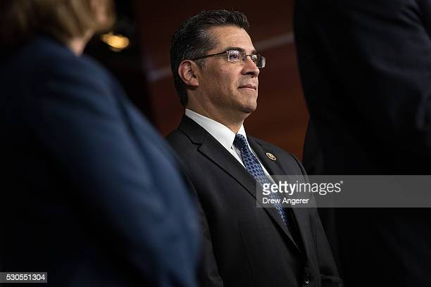 Rep Xavier Becerra listens during a news conference to discuss the rhetoric of presidential candidate Donald Trump at the US Capitol May 11 in...