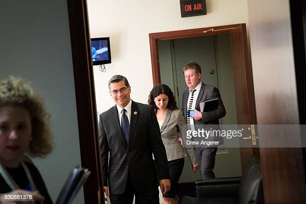 Rep Xavier Becerra second from left leaves a news conference discussing the rhetoric of presidential candidate Donald Trump at the US Capitol May 11...