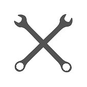 Repair Icon. Sign, icon. Isolated cross sign made of two gray spanner keys, Graphic.