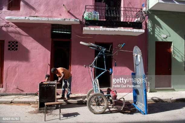 Repair shop at old town Vieja Havana in Cuba