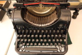 A repaired vintage Olympia typewriter sits waiting for customer pickup on July 22 2014 at the Arndt Hans Joachim Bueromaschinen office supply store...