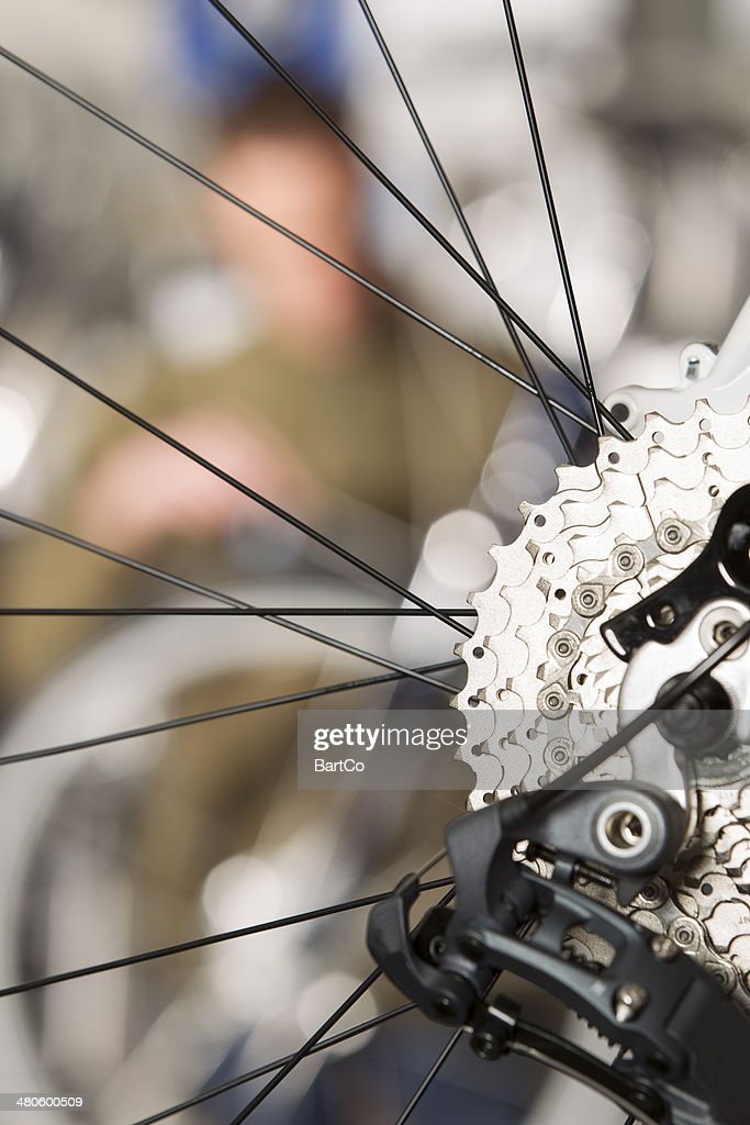 Repairing a bike : Stock Photo