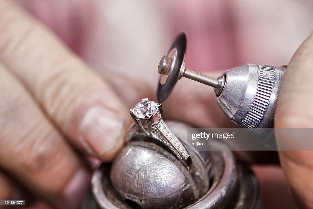 Repairing diamond ring : Stock Photo