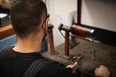 repairman preparation for the overhaul of electric motors