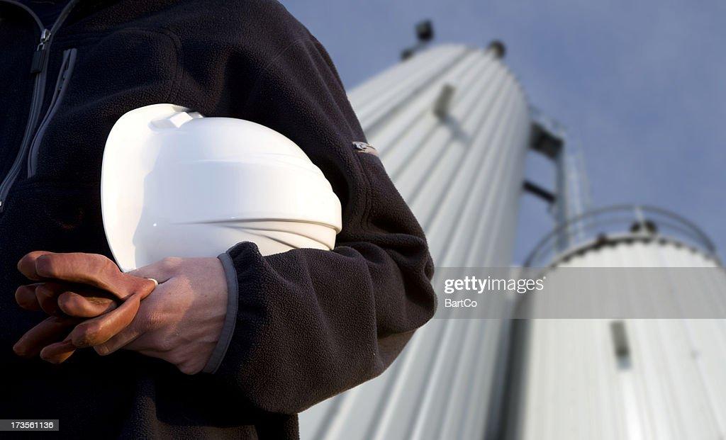 Repairman with helmet.