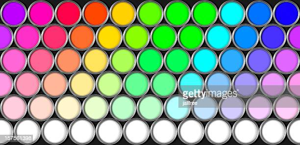 Repeating pattern of multi coloured paint tins