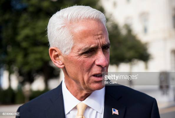 Repelect Charlie Crist DFla speaks with a reporter following the 115th Congress freshman class group photo on the House steps of the US Capitol...