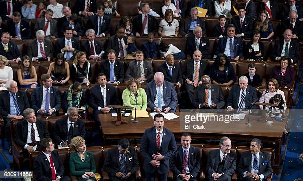Repelect Ruben Kihuen DNev center casts his vote for Nancy Pelosi to be Speaker of the Houser as the 115th Congress convenes on Tuesday Jan 3 2017