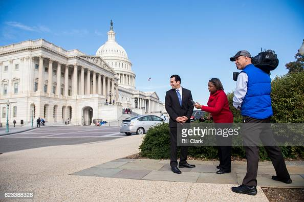 Repelect Ruben Kihuen DNev does an interview with Noticias Telemundo following the 115th Congress freshman class group photo on the House steps of...