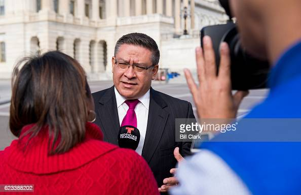 Repelect Salud Carbajal DCalif does an interview with Noticias Telemundo following the 115th Congress freshman class group photo on the House steps...