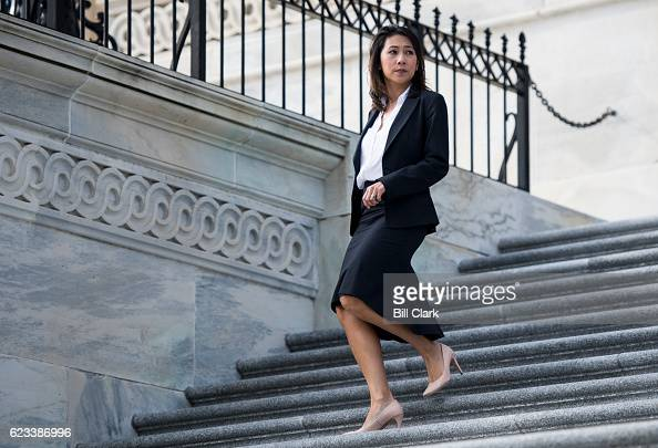 Repelect Stephanie Murphy DFla walks down the House steps for the 115th Congress freshman class group photo on the House steps of the US Capitol...