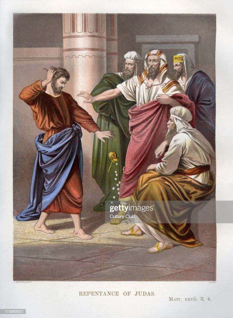 Repentance of Judas. Illustration to Matthew, 27 .3- 4. Judas returns the money to the priests who paid him to betray Jesus.