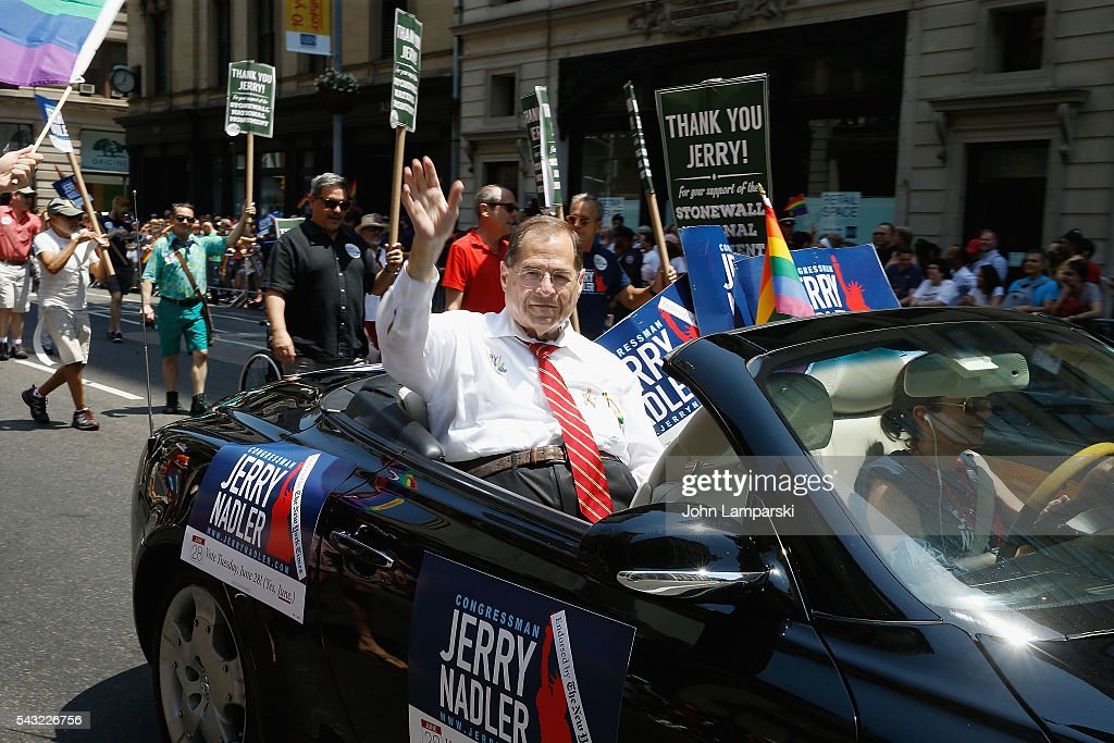 US reperesentative for New York's 10th congressional District, Jerry Nadler attends New York City Pride 2016 March at Pier 26 on June 26, 2016 in New York City.