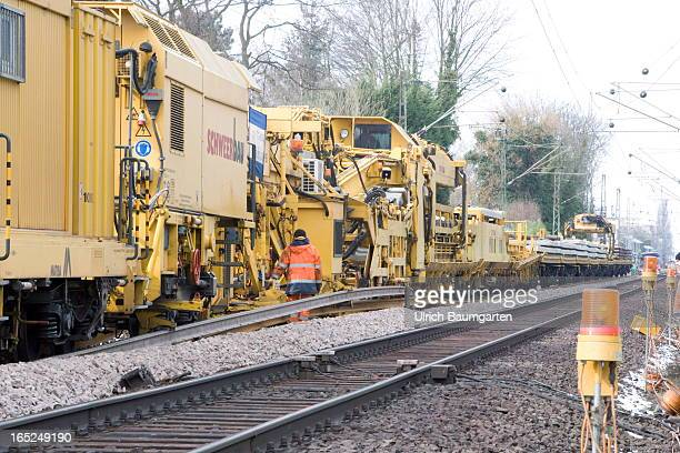 Replacement of the track and the ballast bed between Bonn main station and Bonn Mehlem by order of the Deutsche Bahn AG on March 16 2013 in Bonn...