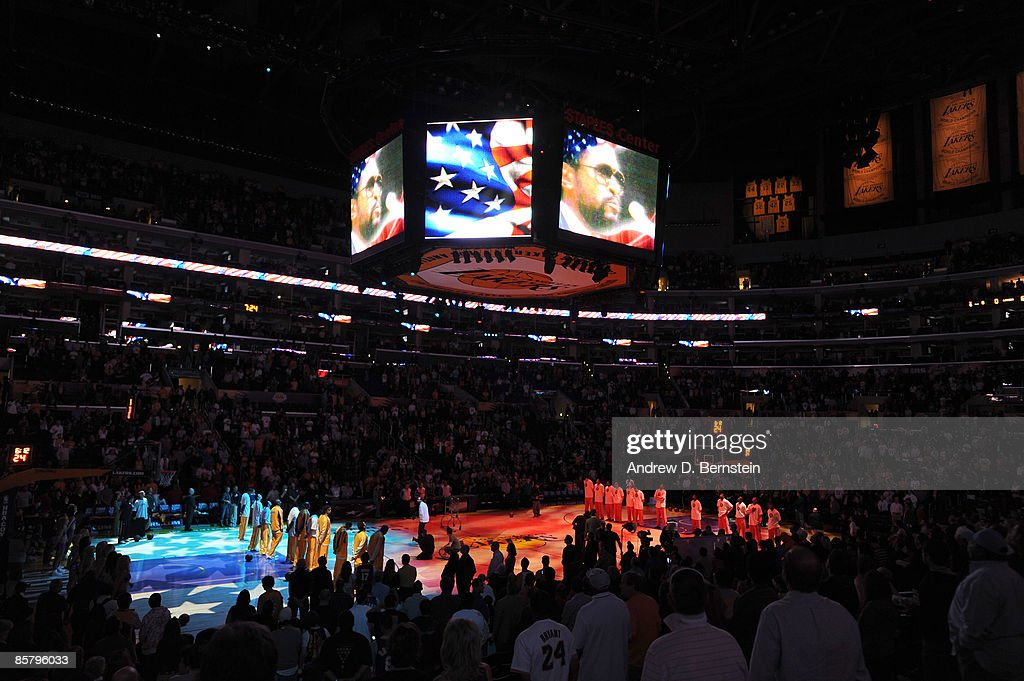 A replay of Marvin Gaye's 1983 National Anthem performance at the Great Western Forum is played before a game between the Houston Rockets and the Los Angeles Lakers at Staples Center on April 3, 2009 in Los Angeles, California. April 2, 2009 would have been Gaye's 70th birthday.