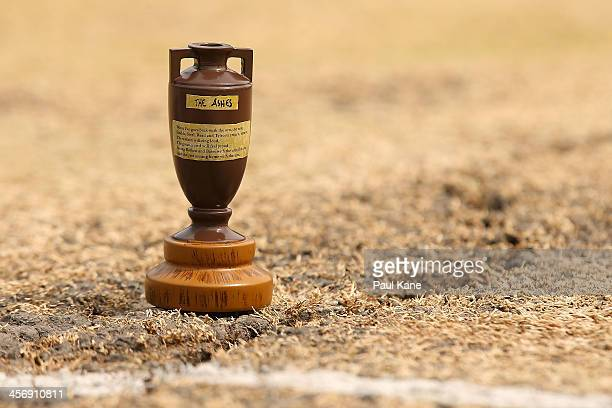A replica Ashes urn is pictured on the pitch before start of play on day four of the Third Ashes Test Match between Australia and England at the WACA...
