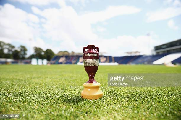 A replica ashes urn is seen ahead of the 1st Investec Ashes Test match between England and Australia at SWALEC Stadium on July 7 2015 in Cardiff...