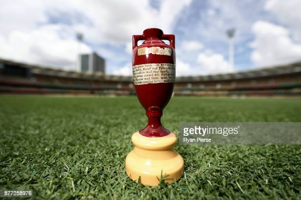 A replica Ashes Urn is seen during a media opportunity ahead of the 2017/18 Ashes Series beginning tomorrow at The Gabba on November 22 2017 in...