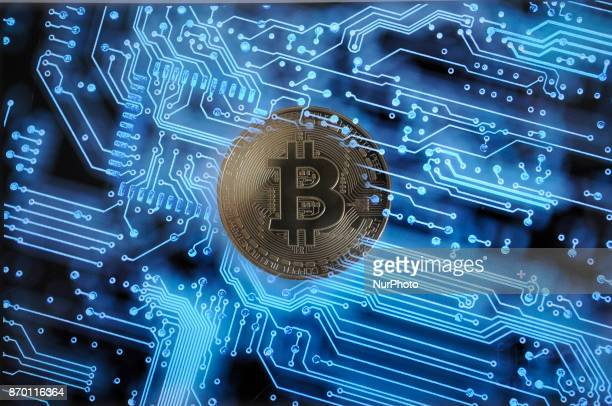 Replica bitcoins are seen in this photo illustration on November 4 2017
