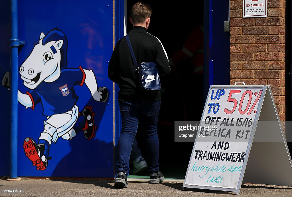 Replica kits on sale in the club shop ahead of the Sky Bet Championship match between Ipswich Town and Milton Keynes Dons at Portman Road on April 30, 2016 in Ipswich, England.