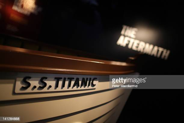 A replica lifeboat is displayed at the Titanic Belfast attraction on March 13 2012 in Belfast Northern Ireland The Titanic Belfast Experience is a...