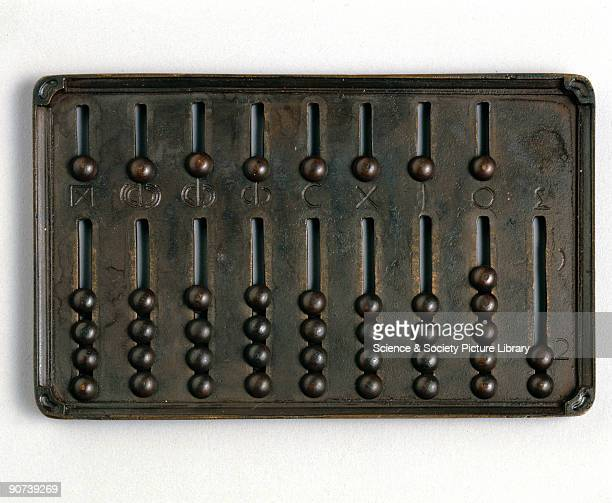 Replica made in 1974 of a Roman hand abacus The counters slide in grooves Like the Japanese abacus the counters above the bar are worth five and...