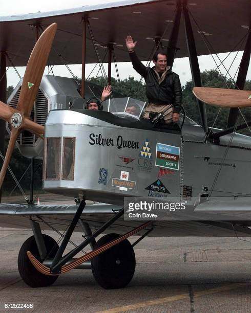 A replica of a 1918 Vickers Vimy aircraft being tested by pilots Mark Rebholz and John LaNoue at Brooklands Airfield United Kingdom prior to a flight...