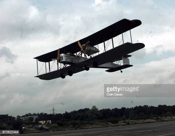 A replica of a 1918 Vickers Vimy aircraft taking a test flight at Brooklands Airfield United Kingdom prior to a flight to South Africa 12th April 1999
