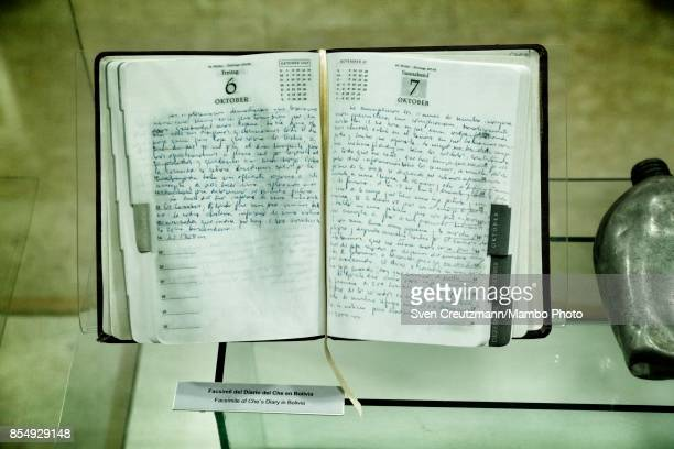 A replica of a Che Guevara diary during his struggle in Bolivia is seen at display in the Che Guevara museum on September 21 in Santa Clara Cuba...