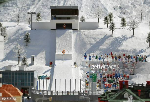 A replica of a ski jump ramp in Sapporo northern Japan made with Lego bricks is on display at Legoland Japan in the central Japan city of Nagoya on...